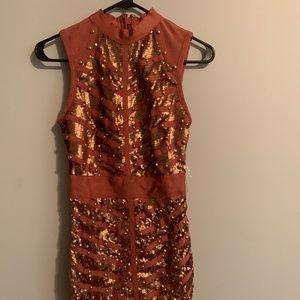 BRAND NEW-coral mini bondage dress-size small!!!